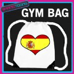 SPAIN HEART FLAG HEART LOVE GYM DRAWSTRING WHITE GYMSAC BAG